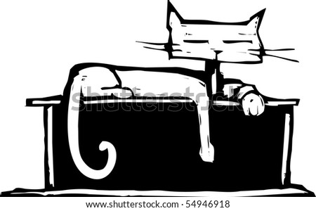 Cat with square head laying on a shelf. - stock vector