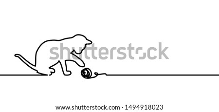 Cat with tuft of wool. Drawing happy cat line pattern.  Kitty silhouette pictogram. Flat vector sleeping cartoon sketch sign. Animals day or Cat day. Lovers, love heart kitten. Cats say meow. Mouse.