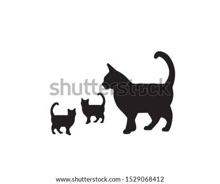cat with two little kittens