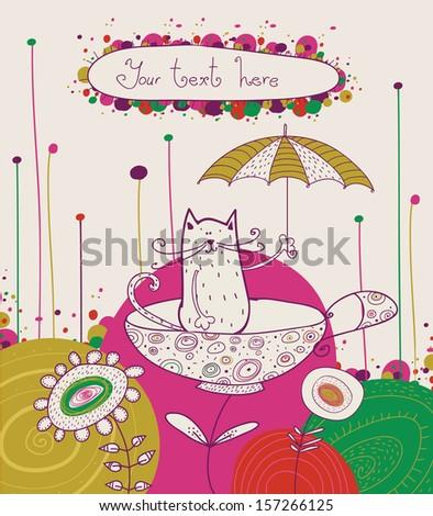 cat with umbrella in tea cup in