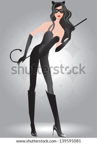 cat woman on silver background