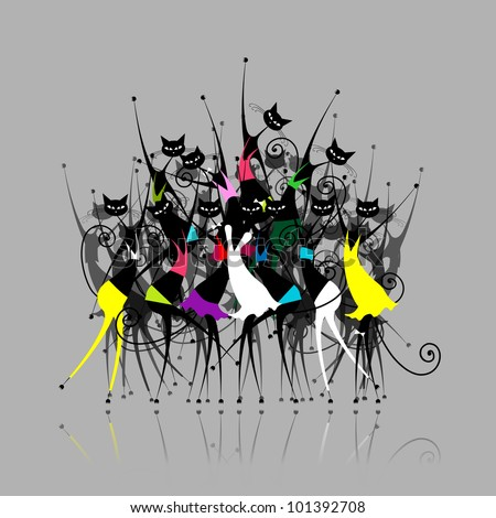 cat woman party  vector