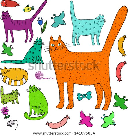 cat world hand drawn