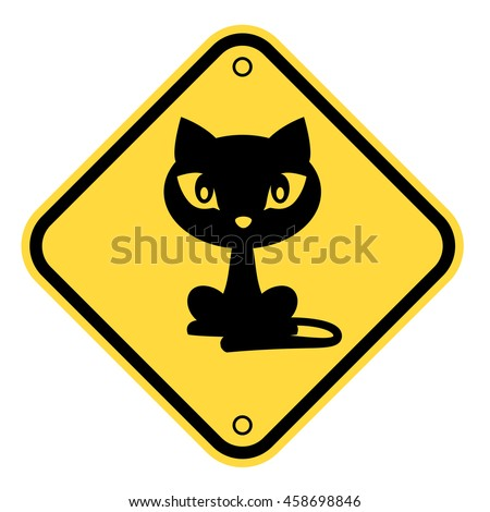 cat yellow road sign   funny