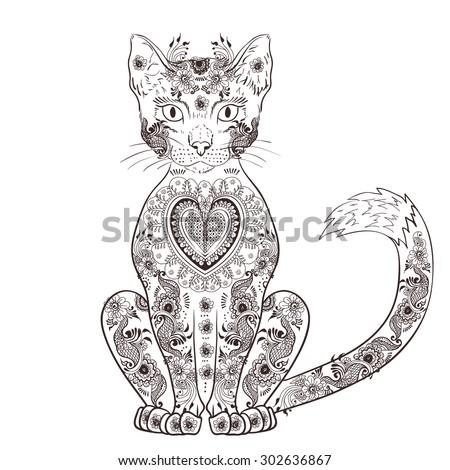 cat zentangle  doodle cat