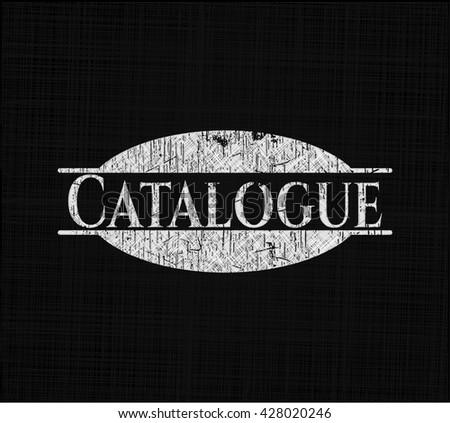 Catalogue on chalkboard