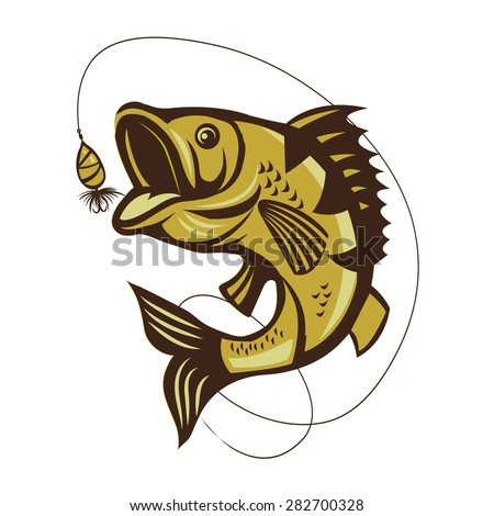 Catching Bass Fish Vector On A White Background. Fish Mascot Vector Illustration. Bass fishing logo isolated on white vector illustration.