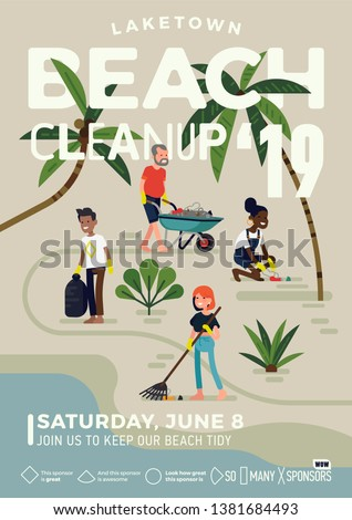 Catchy Beach Cleanup event banner or poster template in trendy flat illustration style. Vector coastal cleanup day layout in standard international paper dimension proportions
