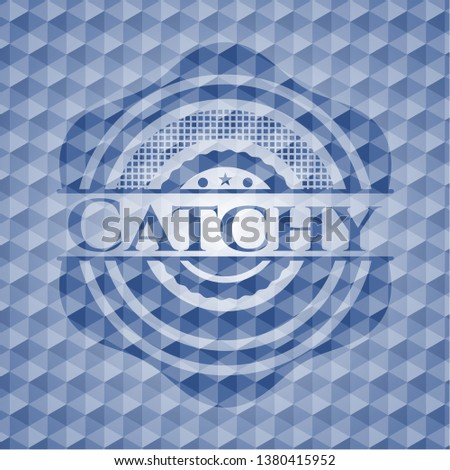 Catchy blue emblem or badge with geometric pattern background.