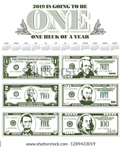 Catchy 2019 calendar with six detailed, stylized drawings of bills to choose from