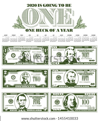 Catchy 2020 calendar with six detailed, stylized drawings of bills to choose from