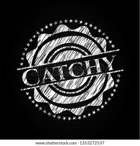 Catchy chalkboard emblem on black board