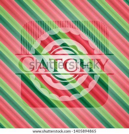 Catchy christmas colors style badge. Vector Illustration. Detailed.