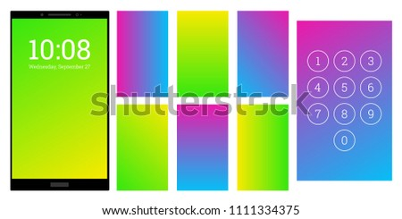 Catchy colors gradient screen backgrounds set. Green and blue numpad and screensaver kit. Vector wallpaper UI template for smartphone display. Device or gadget GUI for app, home or lock screen.