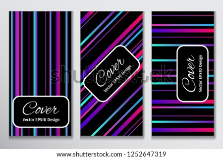 Catchy cover gradient stripe clipart. Contrast cover for header page of card. Layout with colorful gradient stripes on black background for corporate purpose.