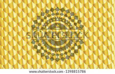 Catchy gold emblem. Scales pattern. Vector Illustration. Detailed.