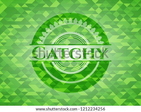 Catchy green emblem with mosaic ecological style background