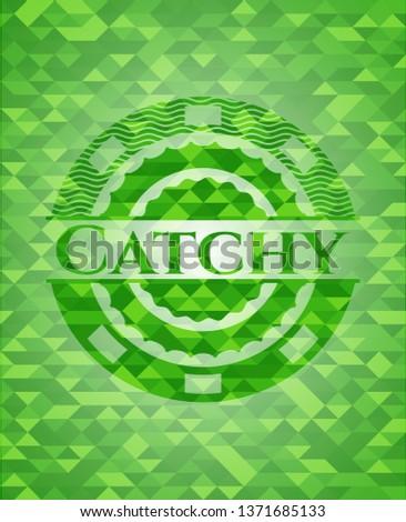 Catchy green mosaic emblem