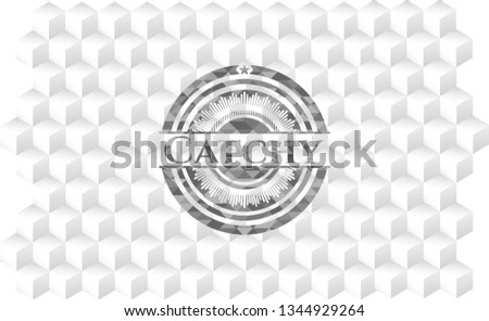 Catchy grey badge with geometric cube white background