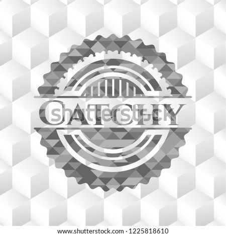 Catchy grey emblem. Vintage with geometric cube white background