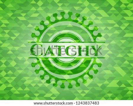 Catchy realistic green mosaic emblem
