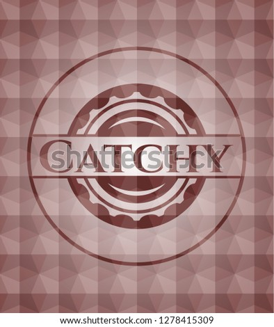 Catchy red seamless emblem or badge with abstract geometric polygonal pattern background.