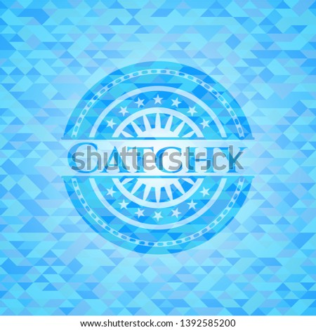 Catchy sky blue emblem with triangle mosaic background