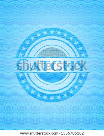 Catchy water representation emblem.