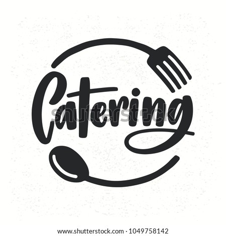Catering company logotype with lettering written with calligraphic cursive font decorated with cutlery or kitchenware. Food supply service logo isolated on white background. Vector illustration