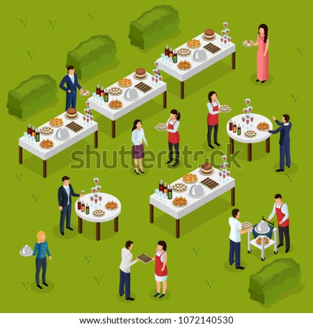 Catering isometric composition banquet at outdoor, feast tables, staff on green background vector illustration