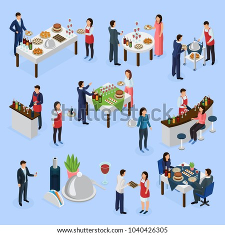 Catering service isometric elements collection with corporate meeting banquets anniversaries wedding buffet bar guests waiters vector illustration