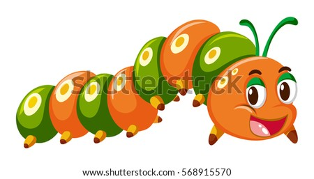 Stock Photo Caterpillar in orange and green color illustration