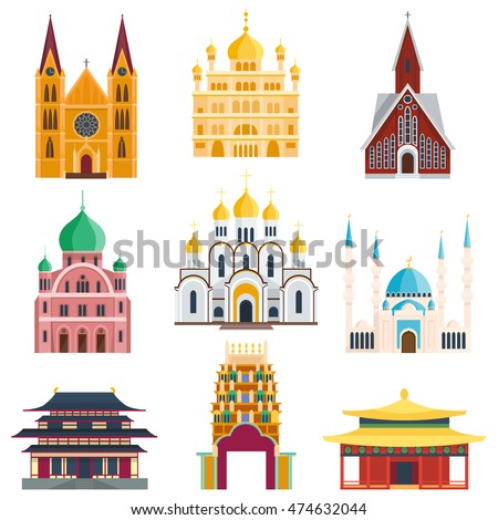 Cathedral and churche infographic temple building landmark tourism vector