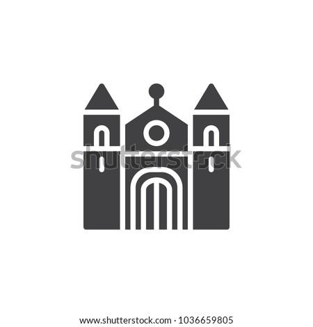 cathedral building vector icon