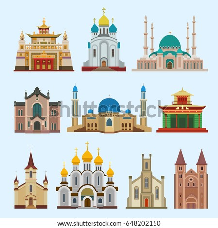 Cathedral church different religion creed temple traditional building landmark churchy tourism vector illustration