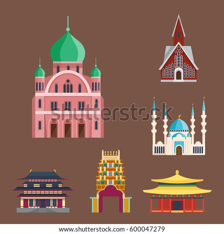 Cathedral churche temple building landmark tourism world religions and famous structure traditional city ancient old tower vector illustration.