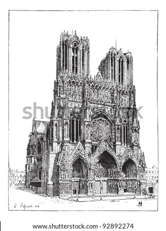 Cathedral of Reims, France, vintage engraved illustration. Dictionary of words and things - Larive and Fleury - 1895.