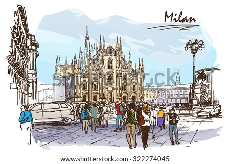 cathedral square in milan