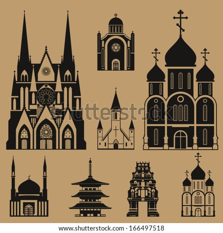 Cathedrals and churches duo-tone infographic set