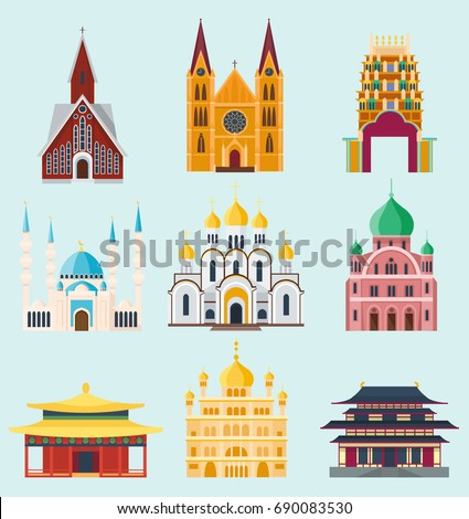 Cathedrals and churches temple building landmark tourism vector