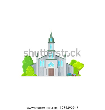Catholic church building vector icon. Medieval cathedral with gothic arch windows. Chapel or monastery facade, christian church, evangelic religious architecture exterior with parked cars Stock photo ©