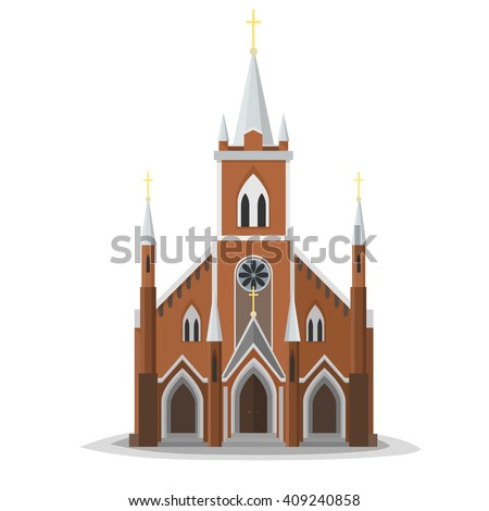 Catholic church facade. Europe architecture modern flat design. City christian architecture object illustration. Cartoon church real front. stock photo