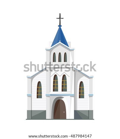 Catholic church icon isolated on white background. Vector illustration for religion architecture design. Old tower building. Famous temple landmark. Religious ancient building