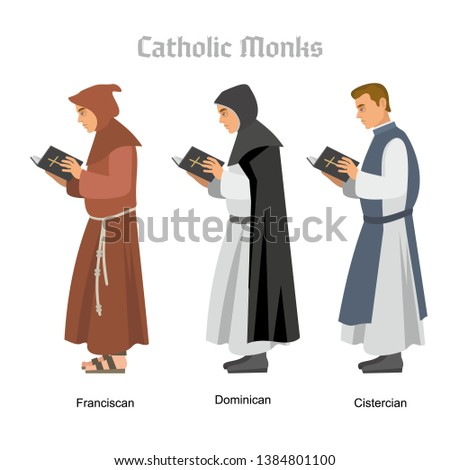 catholic monk with a book Foto stock ©