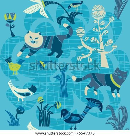 cats and birds on a blue background