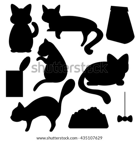 cats and cat food silhouettes vector clipart cat pose of