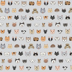 cats and dogs animal doodle seamless pattern