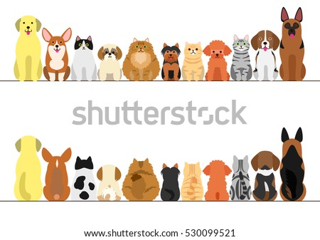 cats and dogs border set  front