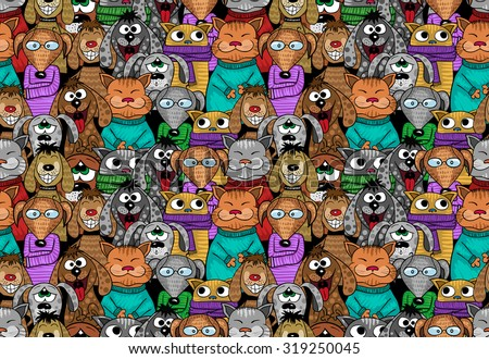 cats and dogs cartoon seamless pattern - positive comic pets. Vector illustration.