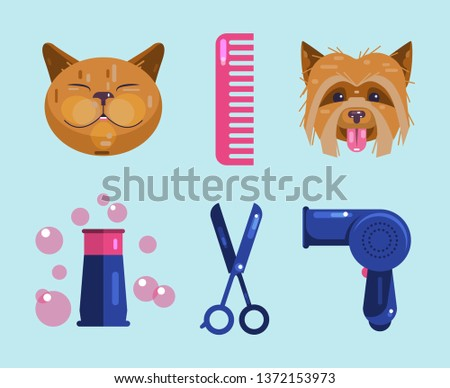 Cats and dogs grooming. Pet Grooming Icons. Cat face, dog face, hair dryer, hairbrush, bone, shampoo, scissors. Healthy pets look well-groomed. Flat Vector Illustration